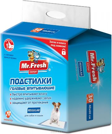 Mr.Fresh Expert Regular Пеленки для кошек и собак 60*60, 24 шт