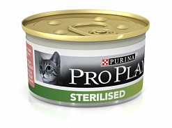Purina Pro Plan Sterilised Salmon Консервы паштет Для Кастрированных кошек лосось и тунец, 85 гр